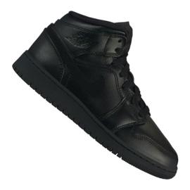 Czarne Buty Nike Air Jordan 1 Mid Gs Jr 554725-090