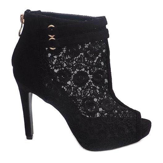 Sandały Na Szpilce 8709 Czarny czarne