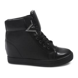 Sneakersy Na Koturnie 2932-1 Czarny czarne