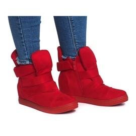 Sneakersy Na Koturnie Z Rzepą 1703 Czerwony czerwone