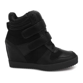Sneakersy Na Koturnie LB239 Czarny czarne