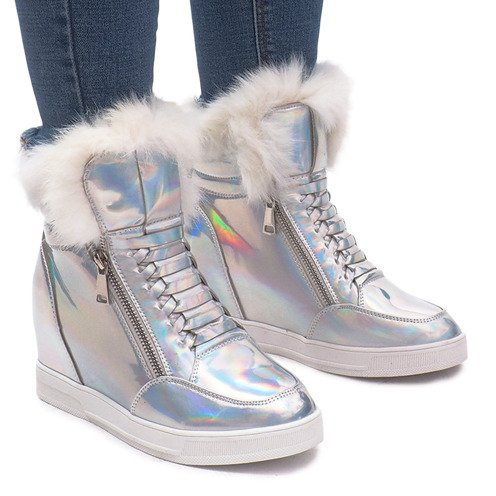 Ocieplane Sneakersy R-99 Srebrny szare
