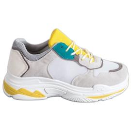 SHELOVET Sznurowane Obuwie Sportowe szare żółte