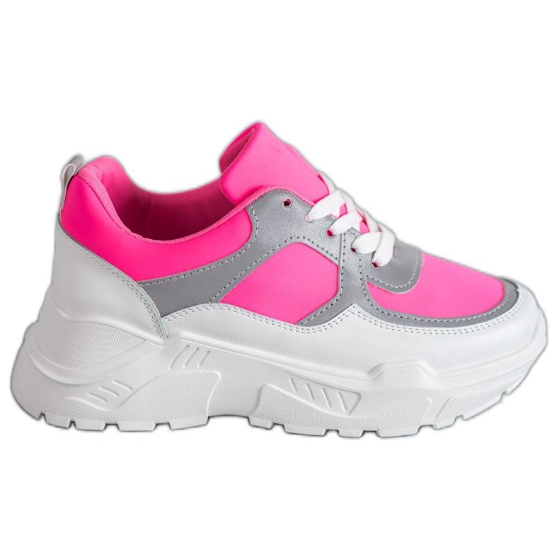 Ideal Shoes Neonowe Obuwie Sportowe białe różowe wielokolorowe