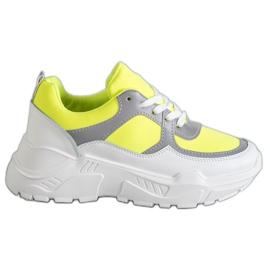 Ideal Shoes Neonowe Obuwie Sportowe białe wielokolorowe żółte