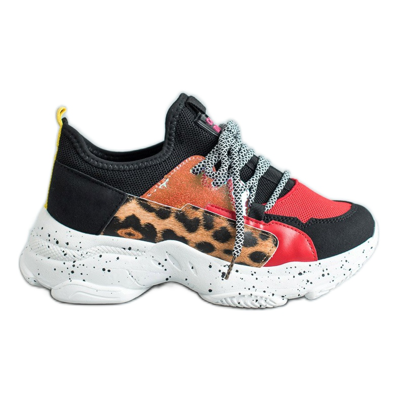 SHELOVET Buty Sportowe Leopard Print czerwone wielokolorowe