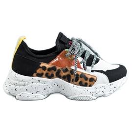 SHELOVET Buty Sportowe Leopard Print czarne wielokolorowe