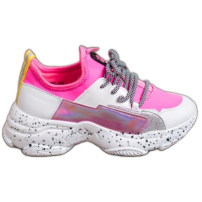 SHELOVET Wsuwane Sneakersy różowe wielokolorowe