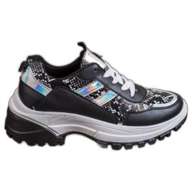 SHELOVET Czarne Sneakersy Snake Print