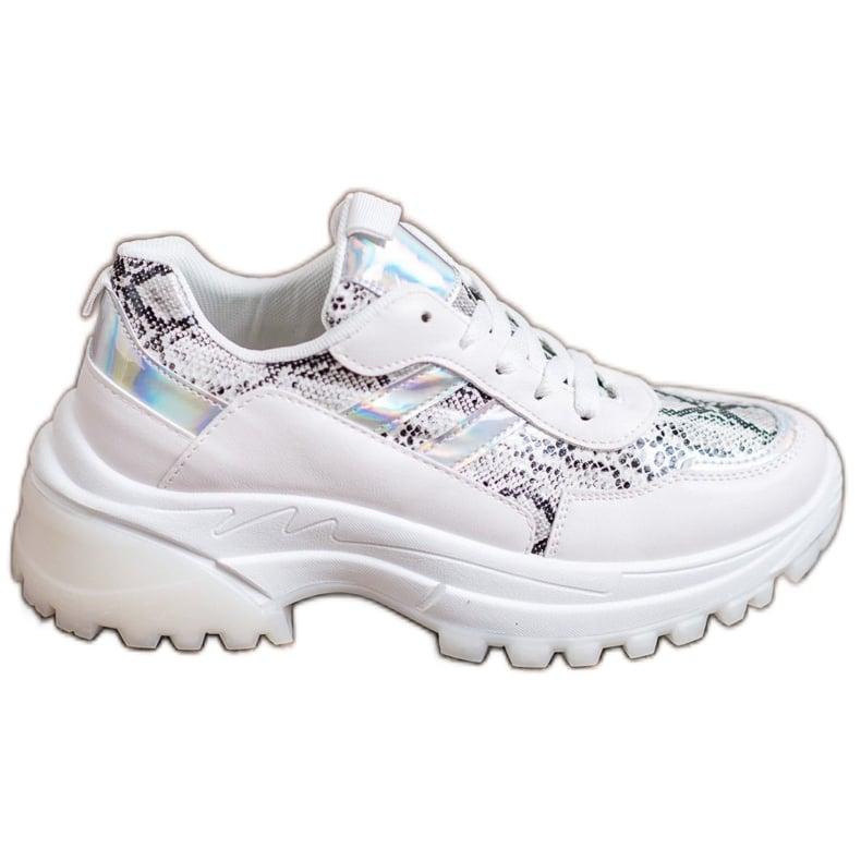 SHELOVET Białe Sneakersy Snake Print