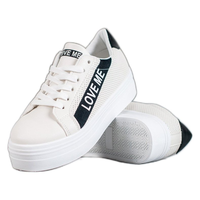SHELOVET Białe Buty Na Platformie