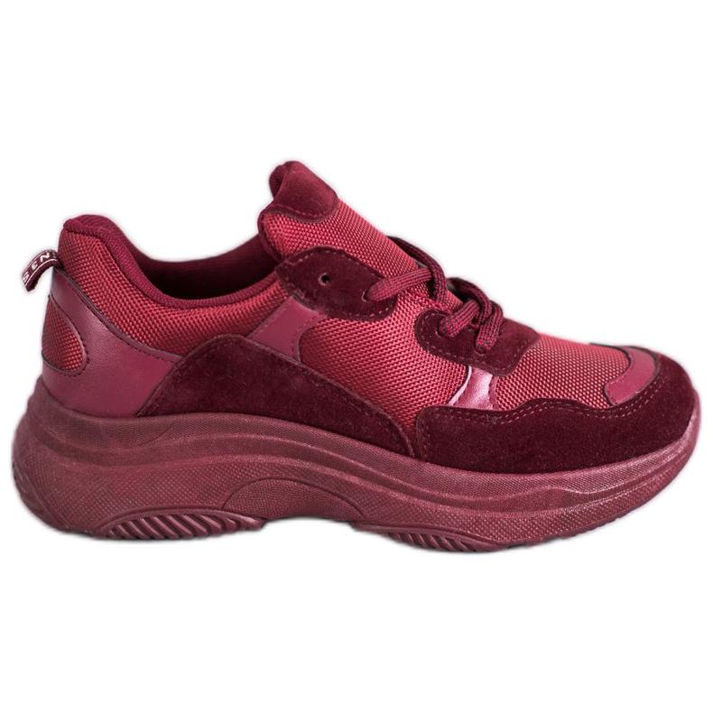 SHELOVET Bordowe Buty Sportowe czerwone