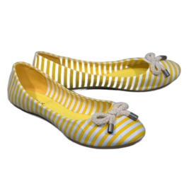 Balerinki W Paski Z Kokardą 16-C Żółty żółte