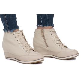 Beżowe Sneakersy Na Koturnie Capucine Material beżowy