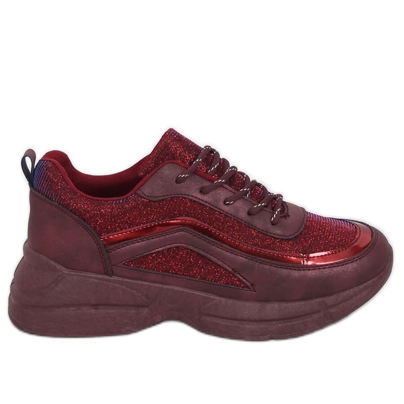 Buty sportowe bordowe BY-082 Wine Red czerwone