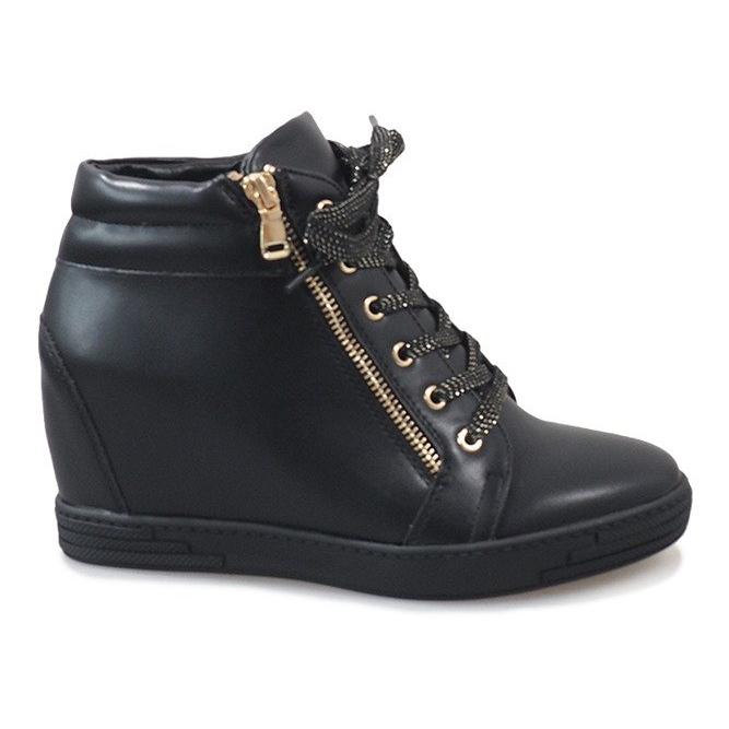 Czarne sneakersy ze złotym suwakiem TL-22