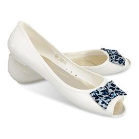 Białe Balerinki Z Odkrytym Palcem Sandałki 092D Biały