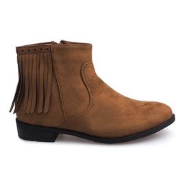 Zamszowe botki w stylu Boho 8355 Camel brązowe