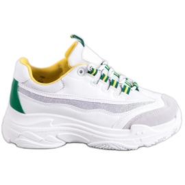SHELOVET Białe Sneakersy Z Brokatem