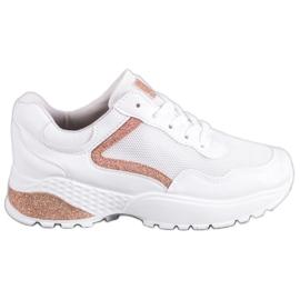 SHELOVET Sportowe Buty Z Brokatem białe