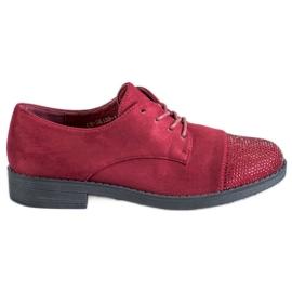 Best Shoes czerwone Półbuty Z Kryształkami