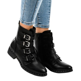Czarne botki damskie z klamrami S120