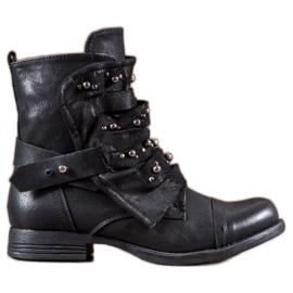 GISICODE czarne Rockowe Buty Z Perełkami