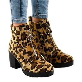 Leopard botki damskie z suwakiem A273