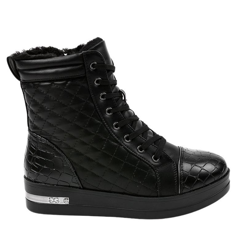 Czarne sneakersy ocieplane z suwakiem 9015-1