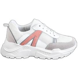 SHELOVET Sportowe Sneakersy białe różowe wielokolorowe
