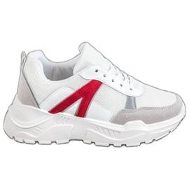 SHELOVET Sportowe Sneakersy białe czerwone wielokolorowe