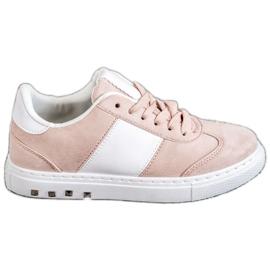 Emaks Sneakersy Z Dżetami białe różowe
