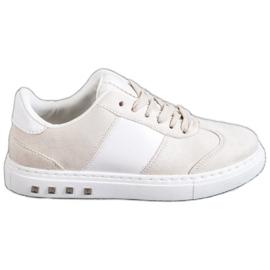 Emaks Sneakersy Z Dżetami białe brązowe