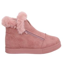 Trampki za kostkę z futerkiem różowe W19-29 Pink