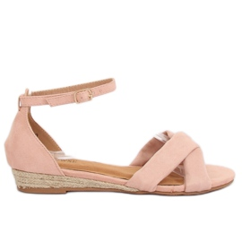 Sandałki espadryle różowe 9R121 Pink II-GAT