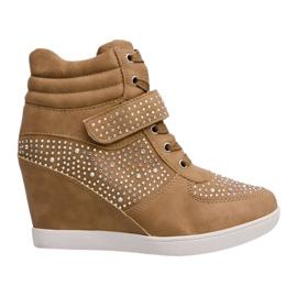 Sneakersy Trampki Na Koturnie Botki 3188 Khaki