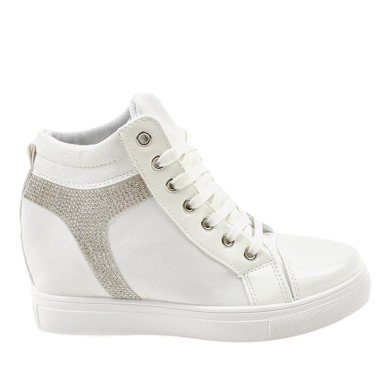 Białe buty sneakersy na koturnie z cekinami AN2959