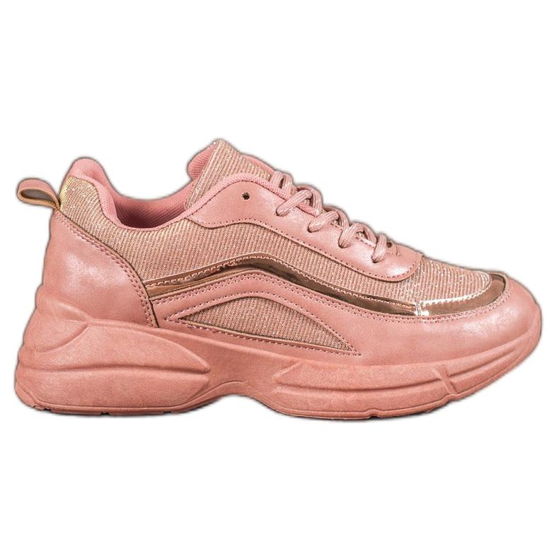 SHELOVET Błyszczące Buty Sportowe różowe