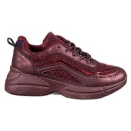 SHELOVET Błyszczące Buty Sportowe czerwone