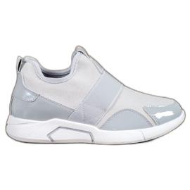 Ideal Shoes szare Wsuwane Trampki Fashion
