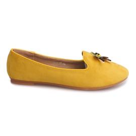 Żółte Zamszowe Balerinki Z Waszką 9988 Żółty