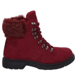 Czerwone Buty traperki damskie bordowe Y260-9 Red