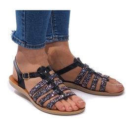 Czarne Sandały Zdobione Brokatem 3-8 Czarny