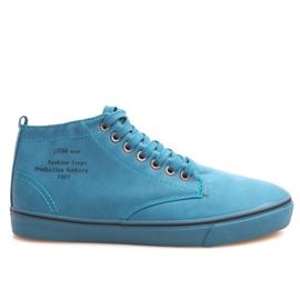 Stylowe Wysokie Trampki Y007 Błękitny niebieskie