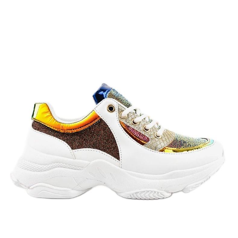 Białe damskie obuwie sportowe W-3117 wielokolorowe