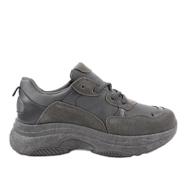 Szare modne damskie obuwie sportowe R267