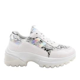 Białe stylowe obuwie sportowe 690051 wielokolorowe