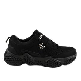 Czarne modne damskie obuwie sportowe BD-5
