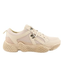 Beżowe modne damskie obuwie sportowe BD-5 brązowe
