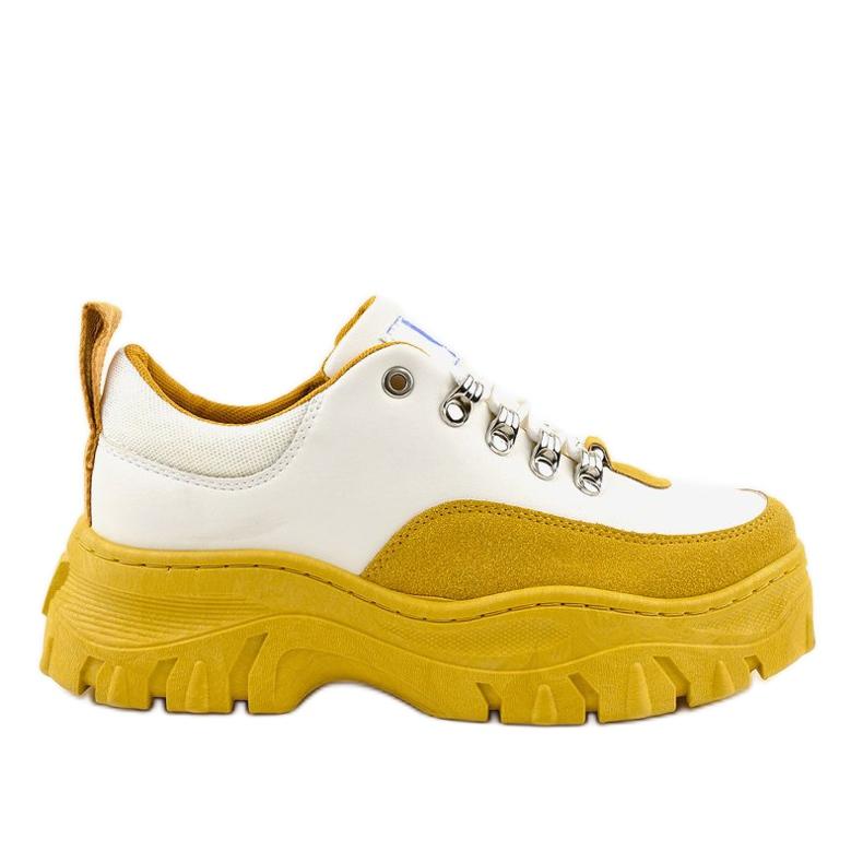 Biało-żółte modne damskie obuwie sportowe PF5329 białe